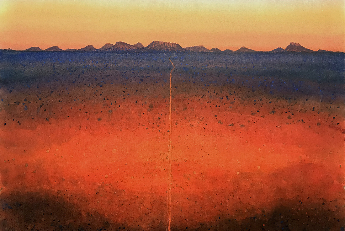 web Ben Shearer, Going Down of the Sun, watercolour on linen, 80x101cm, $5500