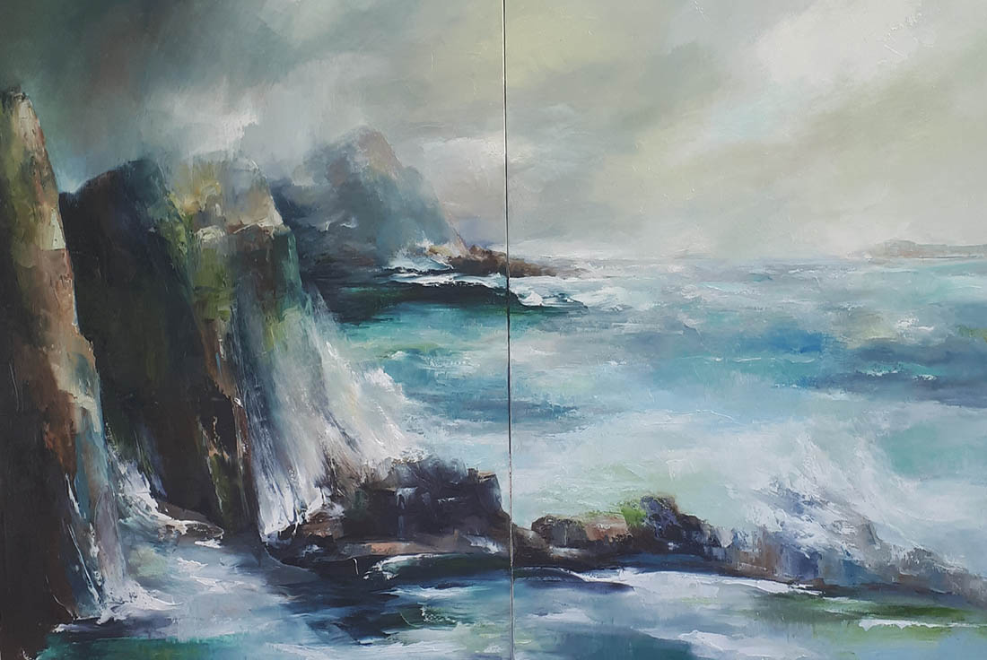 web Where the sea meets the land 3 (diptych) oil and wax on canvas, 214 x 152cm.
