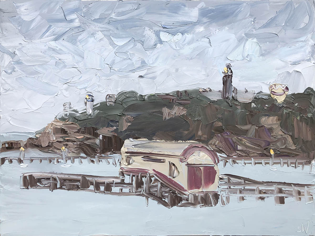 900x1200 Bellarine - Life Boat Shed (13.2.20).oil on canvas, 90x120cm, $6600