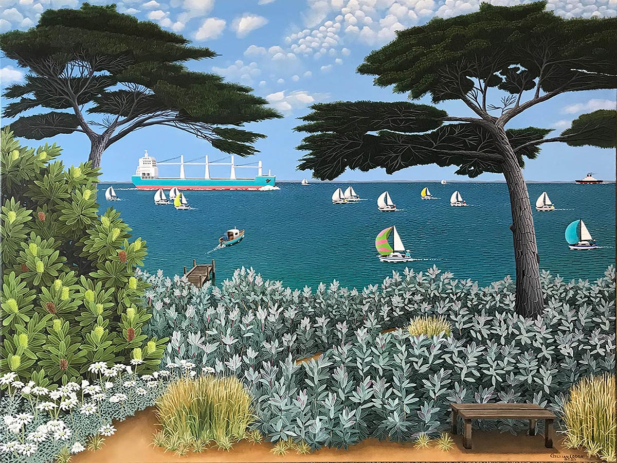 900x1200 With Ships the sea was sprinkled far and nigh' (Wordsworth), Gillian Lodge, oil on linen, 102x122cm, 2020