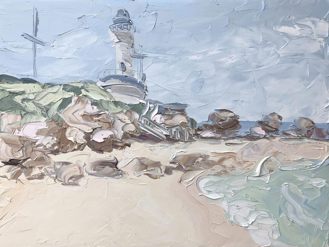 Bellarine - Point Lonsdale Lighthouse(18.1.20).oil on canvas, 90x120cm, $6600