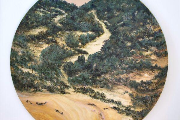 No 1-Salt-2021 painting -The Place Of Stillness -acrylic and Indian Ink on Birchwood panel 100cm diameter $1,700 artwork by Anita Barrett artist