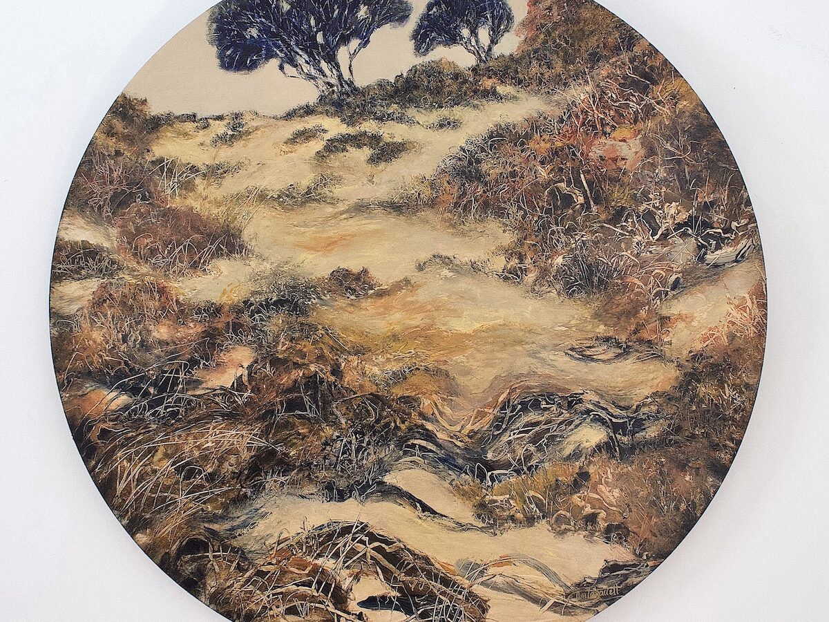 No 4-Salt-2021 painting -Calming The Anxiety- acrylic on Birchwood panel 60cm diameter $895 artwork by Anita Barrett artist